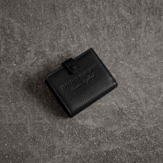 Burberry Embossed Leather Folding Wallet, Black