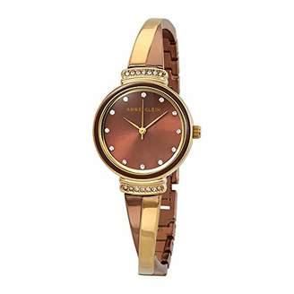 Anne Klein Women's AK/3197BNTT Swarovski Crystal Accented Gold-Tone and Light Brown Bangle Watch