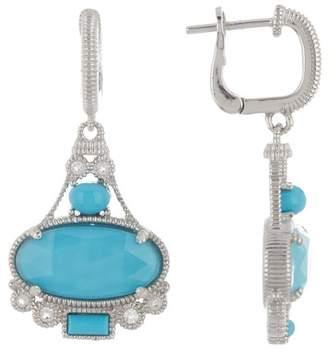 Judith Ripka Sterling Silver Oval Gemstone Dangle Earrings