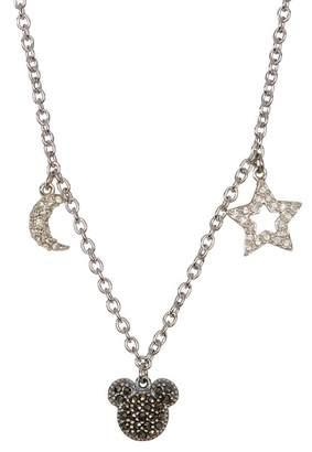 Judith Jack Sterling Silver Pave Swarovski Marcasite & Crystal Charm Mickey Necklace