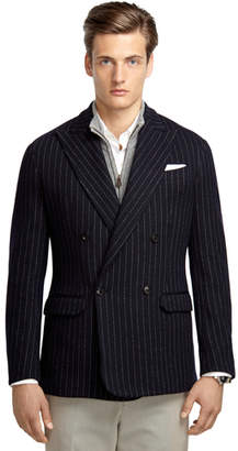 Brooks Brothers Navy Stripe Double-Breasted Knit Blazer