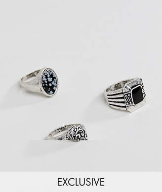 Reclaimed Vintage inspired chunky ring pack in silver exclusive at ASOS