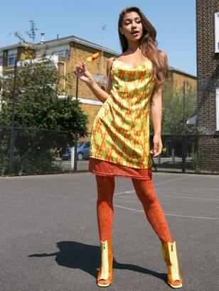 Shein Draped Neck Geo Print Lace Hem Satin Slip Dress