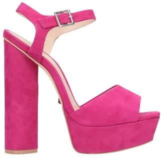 Schutz Fuchsia Leather And Suede Platform Sandals