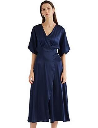 MEHEPBURN Women's 100% Silk Deep V Neck Wrap Dress Sexy High Split Party Maxi Long Dresses with Belt L