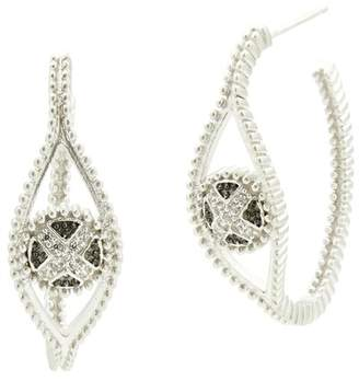 Freida Rothman Two-Tone Rhodium Plated Sterling Silver Industrial Pave CZ 30mm Open Hoop Earrings