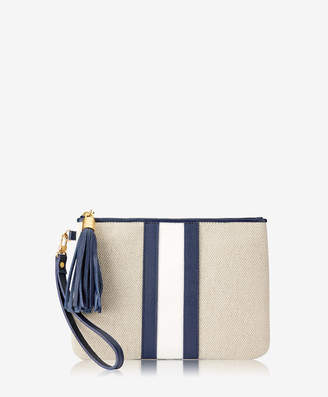 GiGi New York Westley Wristlet, Italian Canvas & Camel Calfskin Leather