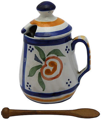 One Kings Lane Vintage French Faience Mustard Pot with Spoon