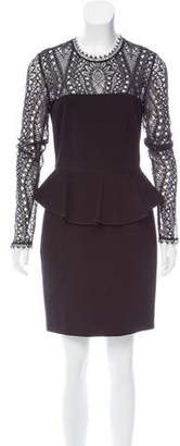 Emilio Pucci Lace-Paneled Peplum Dress