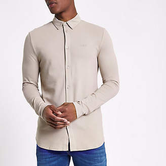 River Island Mens Beige pique muscle fit long sleeve shirt