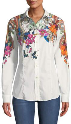 Etro Long-Sleeve Button-Front Floral-Print Blouse