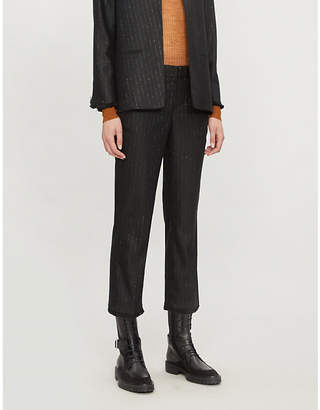 Zadig & Voltaire Posh cropped metallic pinstriped wool-blend straight-leg trousers