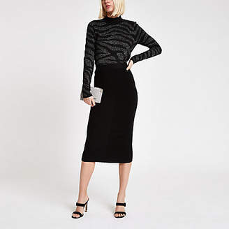 River Island Womens Black knit midi skirt