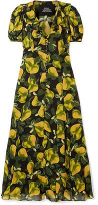 Marc Jacobs Printed Ruffled Crepe Midi Dress - Yellow