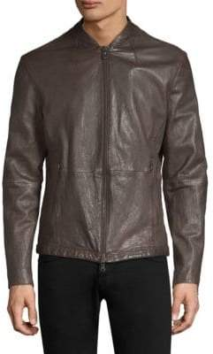 John Varvatos Triple Needle Stitch Leather Racer Jacket