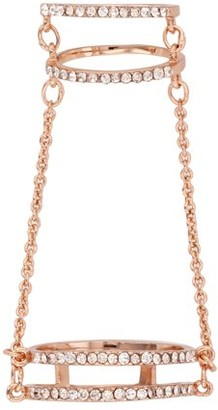 Xo X & O 14KT Rose Gold Plated Two Gap Double Chain Ring ***