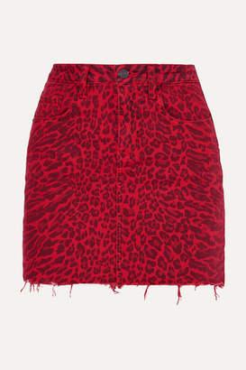 Current/Elliott The Five Pocket Leopard-print Denim Mini Skirt - Red