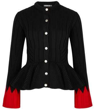 Alexander McQueen Black Chunky-knit Wool-blend Cardigan