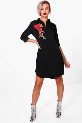 boohoo Embroidered Shirt Dress