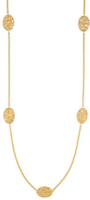 Milani Alberto Oval Mesh Station Necklace in 18K Gold, 30""