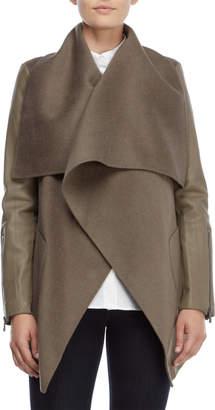 BCBGMAXAZRIA Mixed Media Wrap Coat