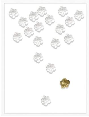 Pottery Barn Teen Folded Flower Framed Art, white/gold, 32&quotx42&quot
