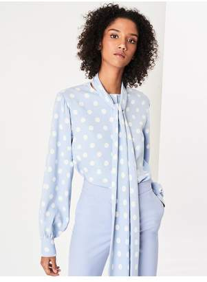 Oscar de la Renta Polka Dot Stretch-Silk Georgette Blouse