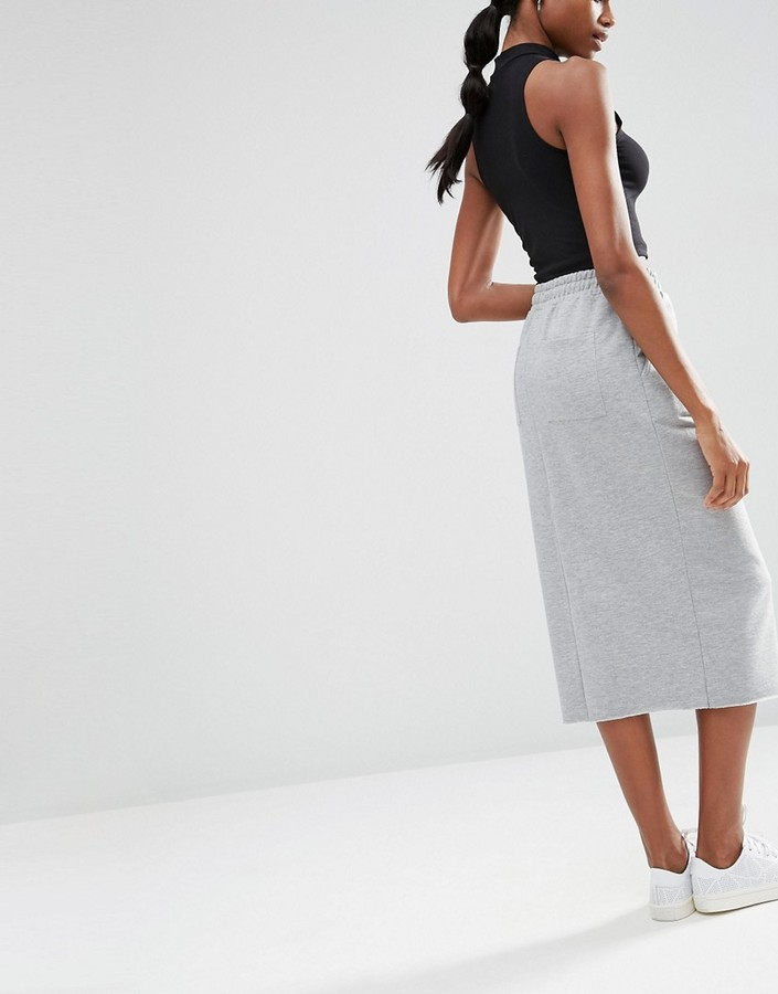 asos midi pencil skirt in sweat with drawstring waist
