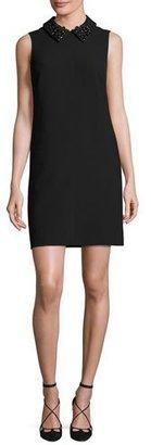 Trina Turk Marta 2 Sleeveless Collared Stretch Crepe Shift Dress, Black $378 thestylecure.com