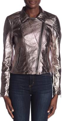 Blank NYC BLANKNYC Denim Metallic Faux Leather Jacket