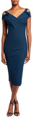 Chiara Boni Cold-Shoulder Knee-Length Dress
