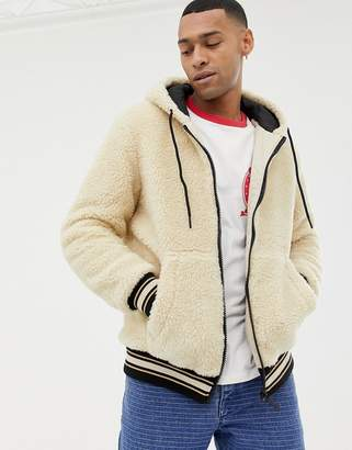 Bershka hooded fleece bomber jacket in sand
