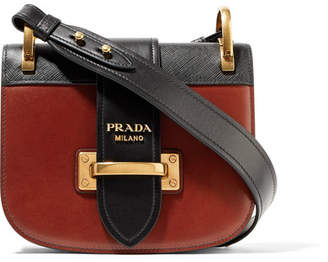 Prada Pionnière Two-tone Leather Shoulder Bag - Claret