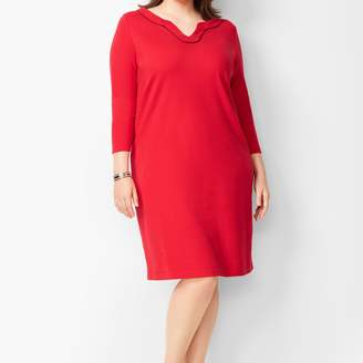 Talbots Trimmed Cotton Knit Shift Dress