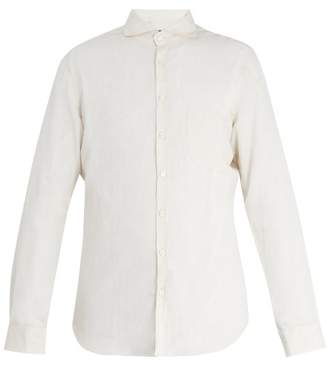 BEIGE Thom sweeney Thom Sweeney - Patch Pocket Spread Collar Linen Shirt - Mens