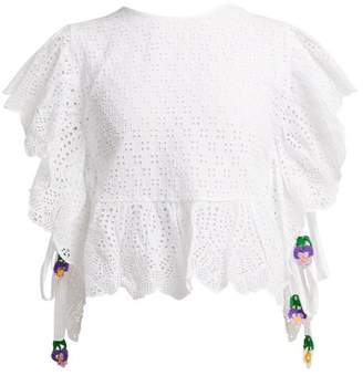 My beachy side My Beachy Side - Laelia Frill Trimmed Crochet Knit Cotton Top - Womens - White