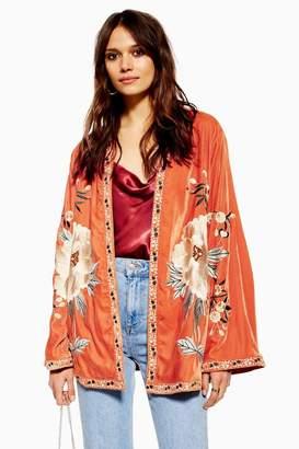 Topshop Velvet Embroidered Kimono