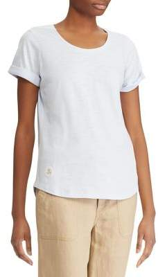Lauren Ralph Lauren Rolled Cuff Cotton T-Shirt
