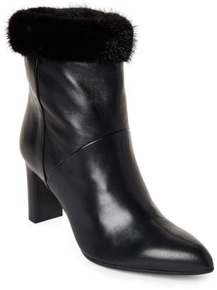 Alberto Zago Black Real Fur Trim Ankle Boots