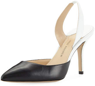 Paul Andrew Colorblock Leather Mid-Heel Slingback Pumps