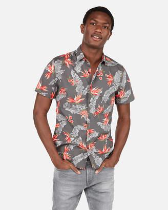 Express Floral Pattern Short Sleeve Shirt