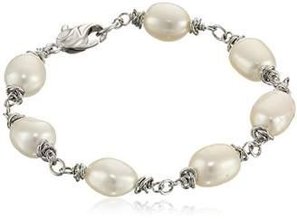 "Honora Crush"" Freshwater Cultured Pearl (9-10 mm) Link Bracelet"