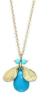 Annette Ferdinandsen Fauna Jeweled Bug Natural Turquoise& 14K Yellow Gold Necklace