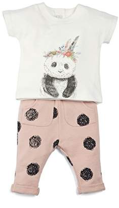 Mamas and Papas Baby Girls' 2 Piece Panda Tee & Spot Joggers Clothing Set,(Size: New Born)