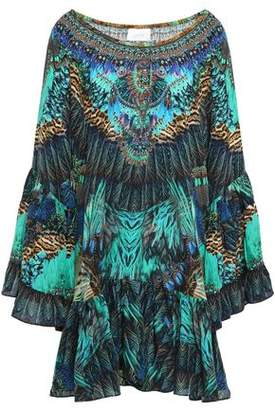 Camilla The Jungle Book Off-the-shoulder Embellished Silk Crepe De Chine Mini Dress