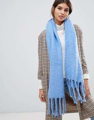 Oasis knitted scarf with tassels in blue