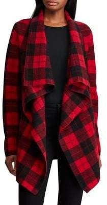 Lauren Ralph Lauren Petite Petite Checkered Merino Shawl Sweater
