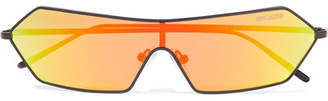 Poppy Lissiman - Razr D-frame Metal Mirrored Sunglasses - Yellow