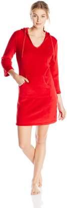 Nautica Sleepwear Women's Plush Solid Hooded Chemise