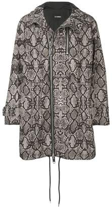Les Hommes snake print hooded parka coat